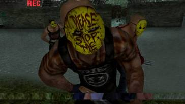 man in yellow mask that says 'please stop me' in red writing