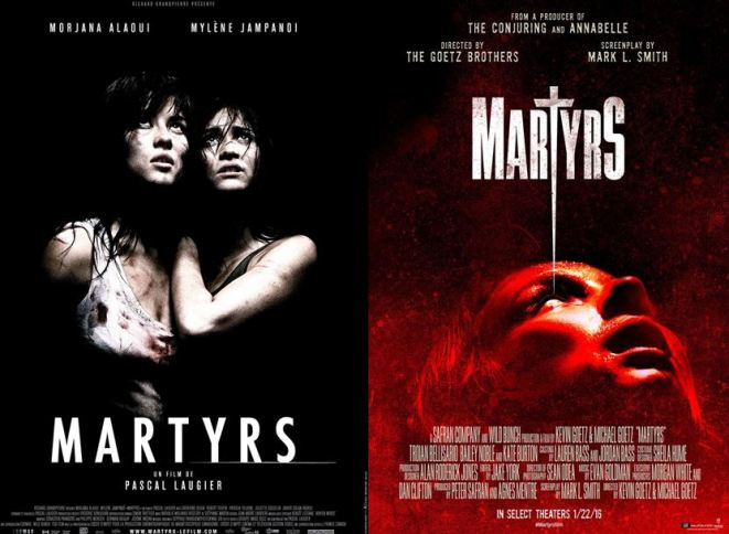 Lucie and Anna look upward on the Martyrs 2008 poster and a red-colored woman looks upward on the 2016 Martyrs movie poster