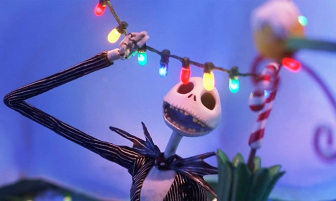 Jack Skellington looking at christmas lights