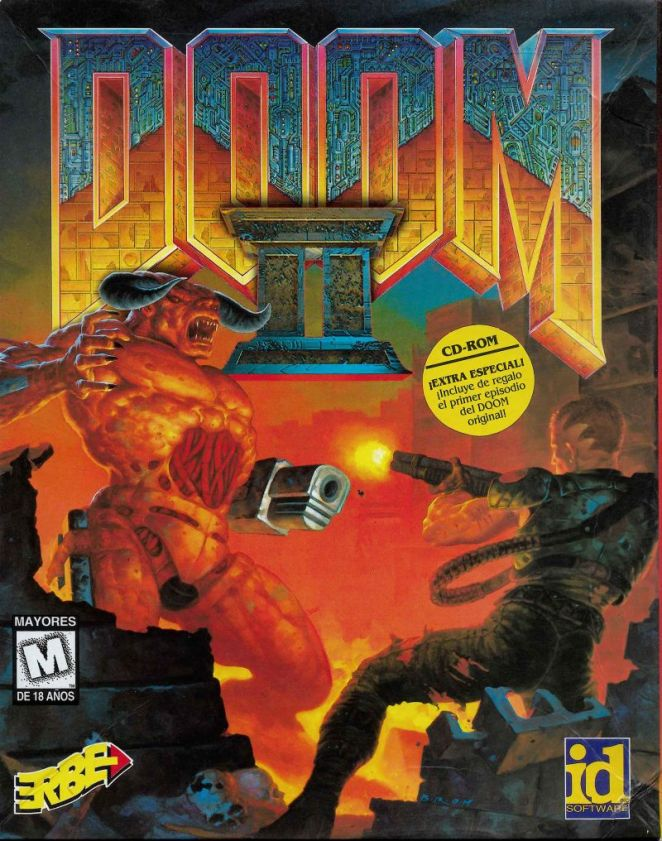 Doom II is written in metalic bold faced font at the top like elements of a builgin, while in red tones, a monster coming from the left is being fired at by a character with a gun on the right.