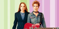 Jamie Lee Curtis And Lindsay Lohan Pink Green Background Promo Image from Freaky Friday