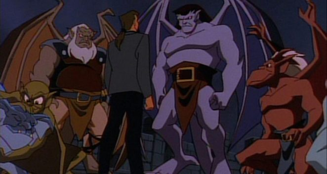 Goliath speaks to David Xanatos while, Brooklyn, Lexington and Hudson look on.