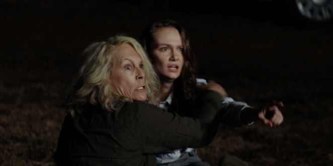 Laurie and Allyson Strode flee Michael Myers