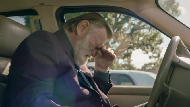 Bill sits in his car weeping uncontrollably. [Mr. Mercedes S03E06]