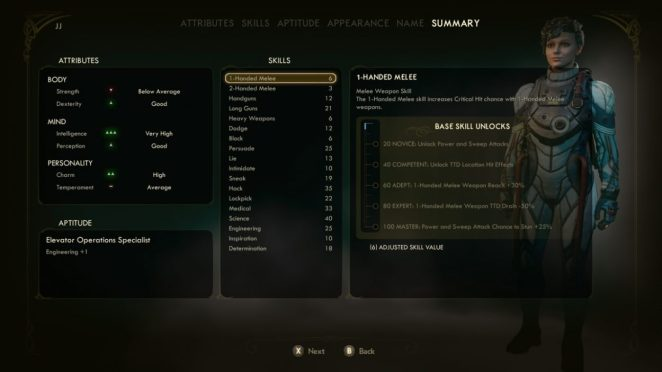 The Outer Worlds Character Creation Summary