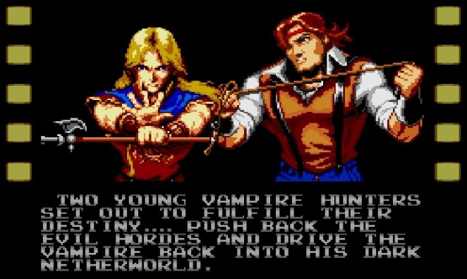 Two young vampire hunters push back against the hordes and send Dracula back to the Neather World. John, the Belmont descendant who resembles Trevor, and the blonde long haired guy with the Alucard spear.