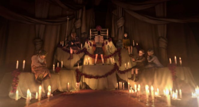 A gatherof girls in a dim room filled with lit candles from Rule of Rose.
