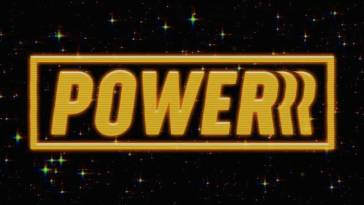 The yellow Power logo against a starry space background