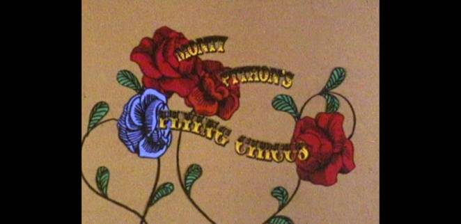 The Monty Python's Flying Circus logo against animated flowers