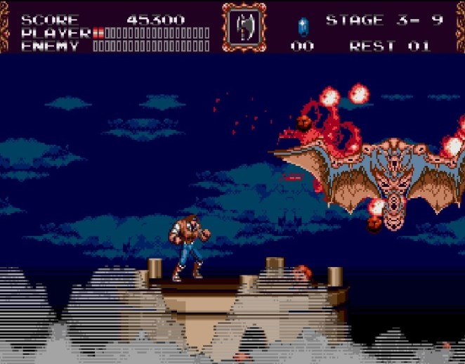 John stands a top a tower in the night as a giant winged bat boss is defeated above the clouds.