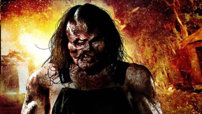 Victor Crowley character from Hatchet against flaming backdrop