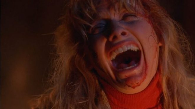 Barbara Crampton laughs maniacally at the end of From Beyond