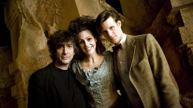 Promo shot of Neil Gaiman, Suranne Jones, and Matt Smith