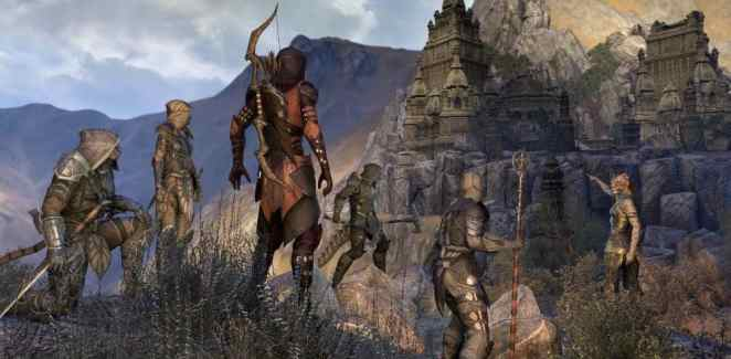 multiple characters in elder scrolls online looking at an old castle