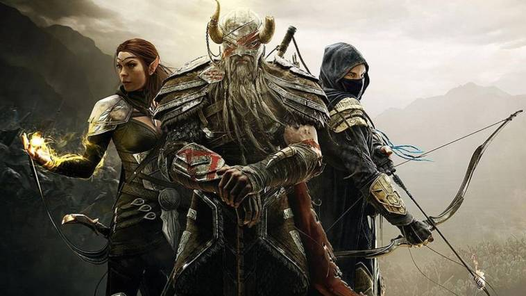 title poster for the elder scrolls online, consisting of three characters