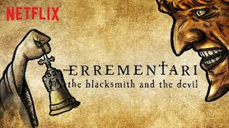 Netflix Art for the movie Errementari which is an illustration of a robed hand holding a bell and confronting a demonic face