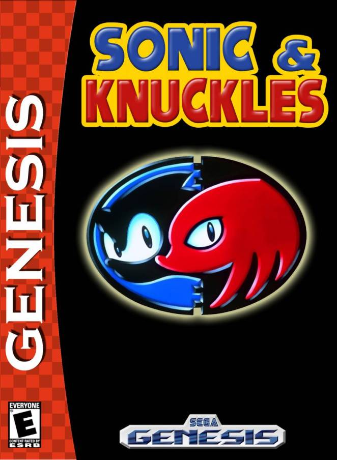 "The box art for Sonic & Knuckles is a black background with an oval in the center containing profiles of Sonic in blue on the left and knuckles in red on the right. The red band that says ""Genesis"" is along the left side of the box."