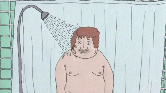 A large man stares wide-eyed under a running shower