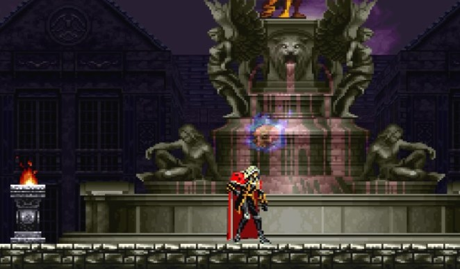 The fountain where the water turns to blood, that was featured in Castlevania: Bloodlines returns.