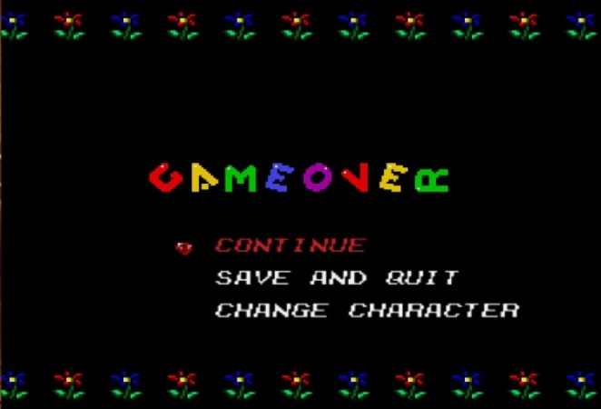 Maria's Game Over screen is childlike, with cartoon flowers bordering the screen and rainbow colored letters all clumsily spelling GAME OVER.
