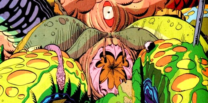 Watchmen - The giant psychic squid from the Watchmen comic, with its mouth and eye showing