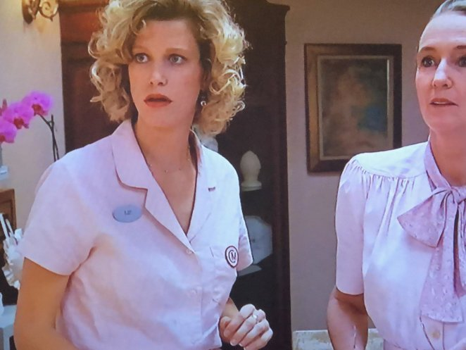 Two nurses at the maternity resort, looking shocked