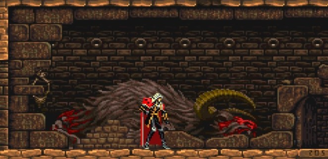 Behind a wall, Alucard finds the corpse of the giant minotaur that chased Richter through stage 2 of Rondo of Blood.