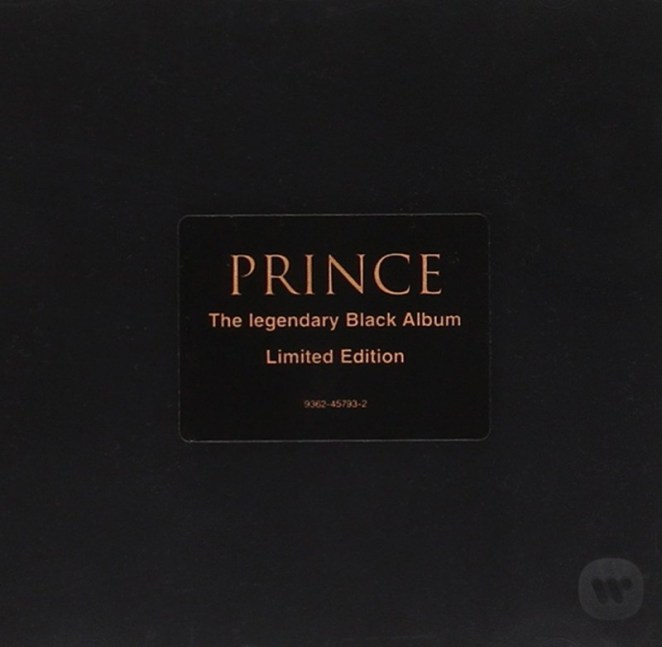 "The album is a black case, with gold printing in the Center of ""Prince,"" and ""The Legendary Black Album"" centered and in gold."