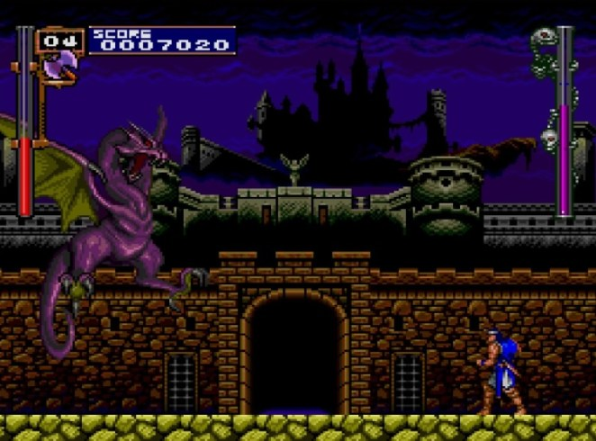 Richter is attacked by a flying purple dragon at the entrance leading towards Castlevania