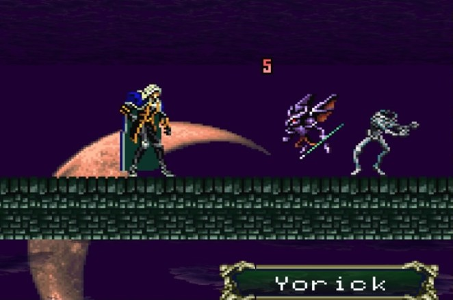 Alucard and his demon familiar encounter Yorick, a headless skeleton chasing his disconnected head around