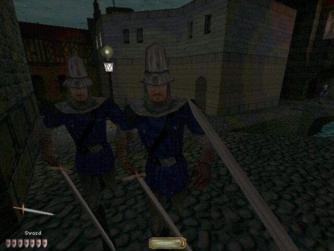 Two guards confront Garret in the corner of an alley