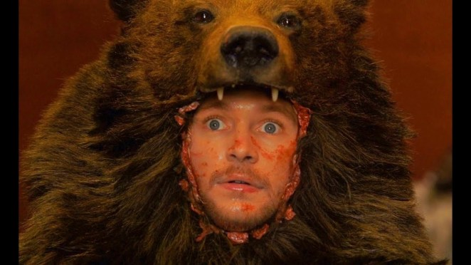 Christian is propped up paralysed inside a bear carcass and looks on in horror