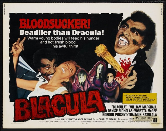 The movie poster shows Blacula with a stake thrust into his chest, screaming as he dies.