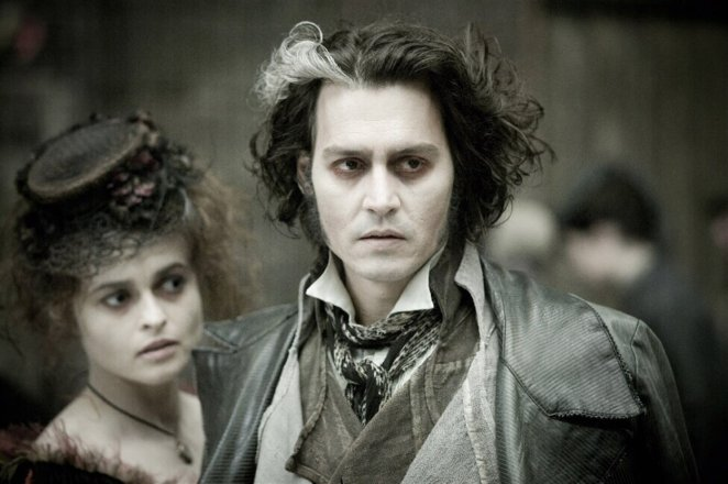 Todd scopes out something in the marketplace, with Mrs Lovett at his side