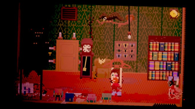 A character stands in a library holding a bear claw trap; a bloody corpse sits in the corner