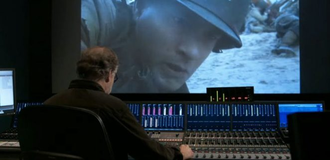 Gary Rydstrom uses a soundboard to layer sounds into Saving Private Ryan
