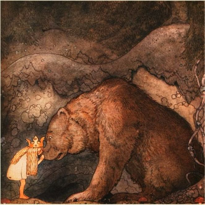 A painting of a little girl with a crown kissing a bears nose, unafraid