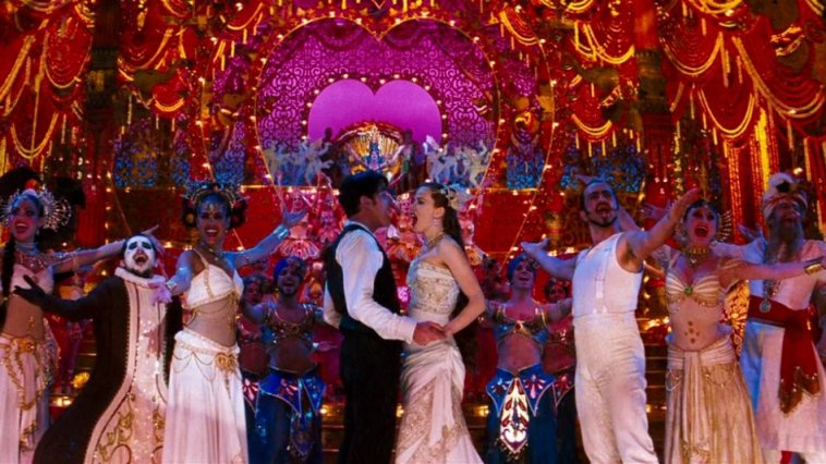 Christian (Ewan McGregor) and Satine (Nicole Kidman) sing together at the end of Moulin Rouge