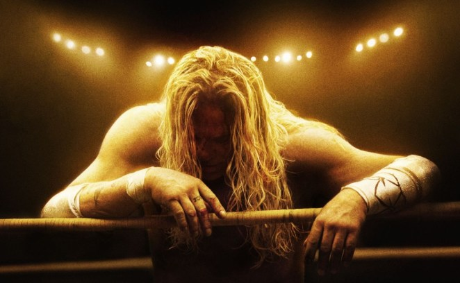 Randy leans exhausted against the ropes of the wrestling ring bathed in golden light