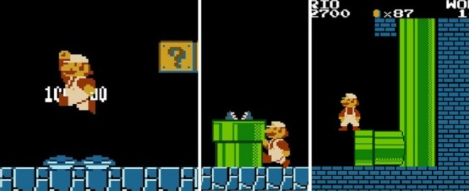 "A three panel shot of things Mario does in Stage 1-2: (From left to right) Mario stomps on two Goomba's at once; Mario ""skates"" after exiting a pipe; Mario attempts to glitch his way to the Minus World by jumping backwards into a protruding brick at the end of the underground section of 1-2"