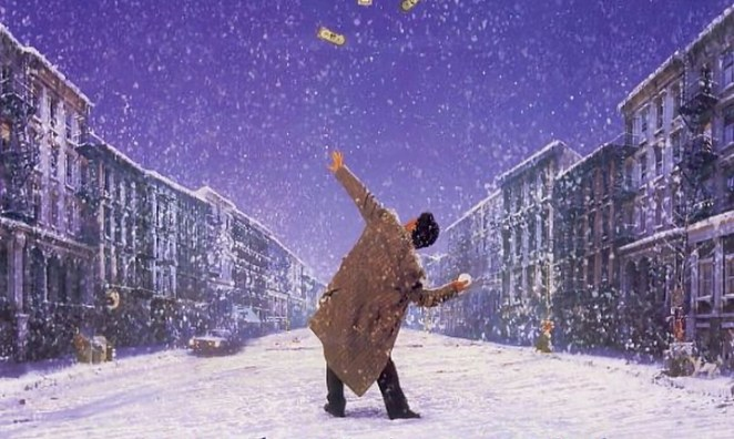 Frank Pesce hurls a snowball at a church in this poster for 29th Street