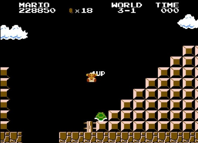 Super Fire Flower Mario dies when time runs out. He is seen here gaining points and 1 Ups by repeatedly bouncing a Koopa shell off a stair.