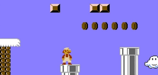 Mario considers jumping from one pipe to the next, but a wall above may lead to his doom if he hits his head and falls into the pit below.