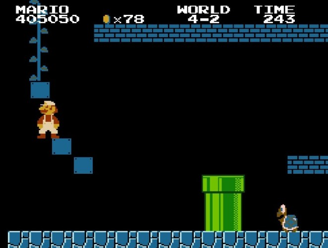Super Mario strategically breaks some hidden blocks to reveal a beanstalk that leads to a Warp Zone.