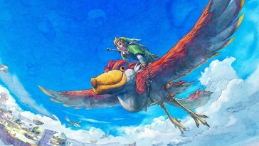 Promo artwork of Link riding a Loftwing Bird