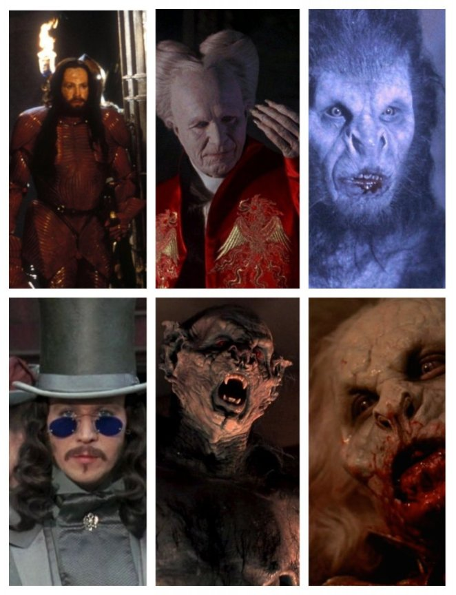 Gary Oldman's many faces in Bram Stoker's Dracula (from Top Left - young warrior, old Count, wolf; Bottom left - young prince, bat, withered and dying man)