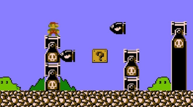Mario spots a Question Mark Box surrounded by Bullet Bills
