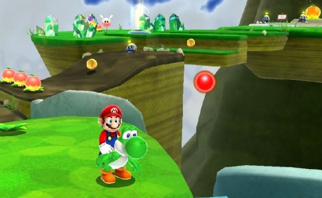Super Mario Galaxy 2. In this image, Mario rides Yoshi, the green dinosaur with a bulbous nose through a bright, vibrant grassland.