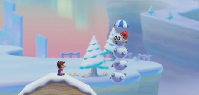 Mario encounters a Pokey dressed as a snowman in a Super Mario 3D World inspired snow level.
