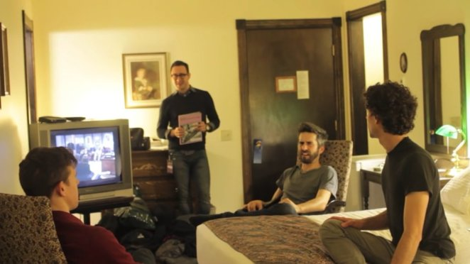 The indie band Tokyo Police Club chilling in a hotel room